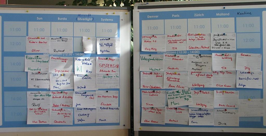 BarCamp Munich 2008, Sessionplanung für 11.10.2008