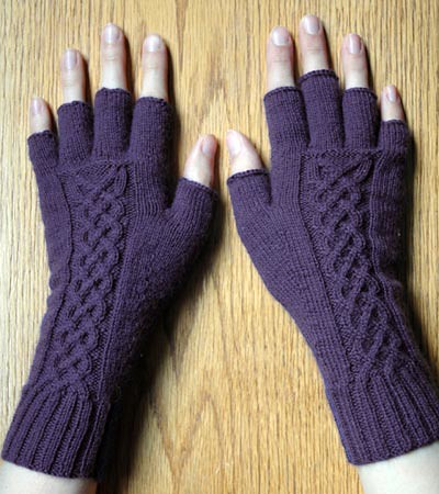 Knit tipless gloves with celtic cable The tipless glove ...