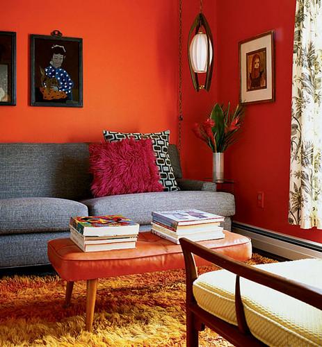 Mid century living room with orange walls blogged on whora flickr - Orange living room walls ...