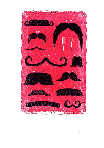 Moustaches - Gocco print | by Peskimo // Jodie & David