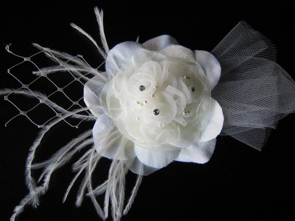 Jennifer Bridal Ivory Organza Silk Flower Hair Clip With Flickr