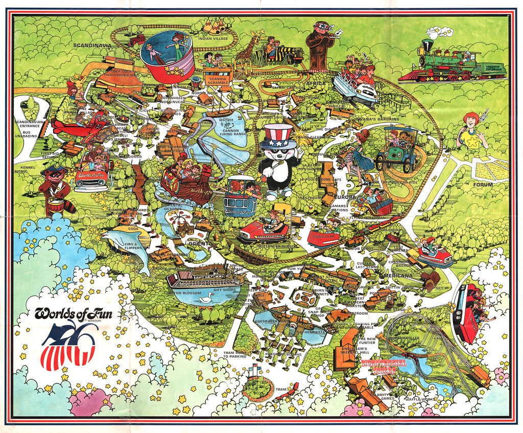 Vintage Worlds of Fun Souvenir Park Map Poster Kansas – Kansas City Tourist Attractions Map