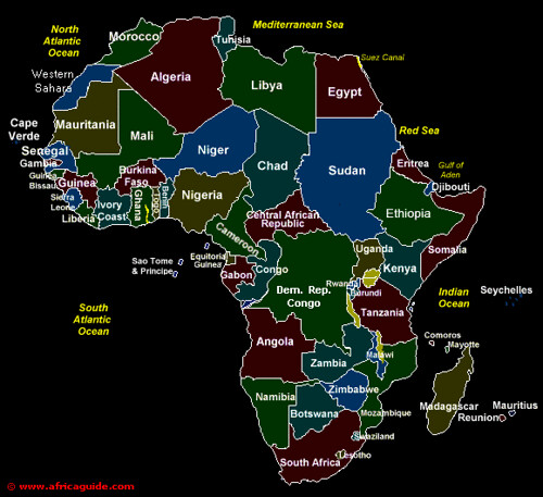 Map Of Africa Showing All Countries  Deboomfotografie