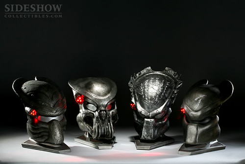 AVPR Predator Mask Collection - Showing Light-Up Features | by SideshowCollectibles