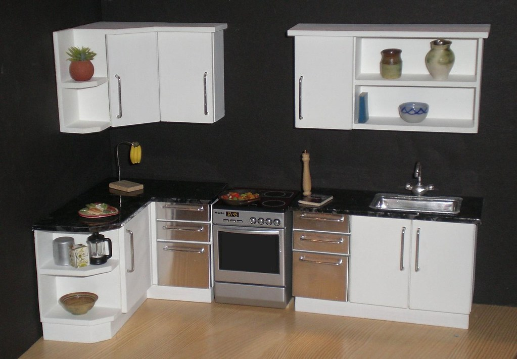 white modern 112th scale dollhouse kitchen by elf mins - Dollhouse Kitchen
