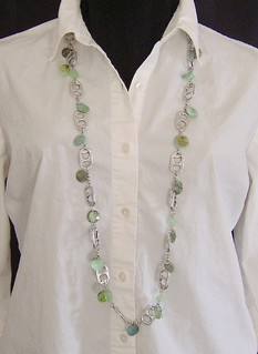 Green Mop Coin and Pop Tab Necklace | by Cheryl's Art Box