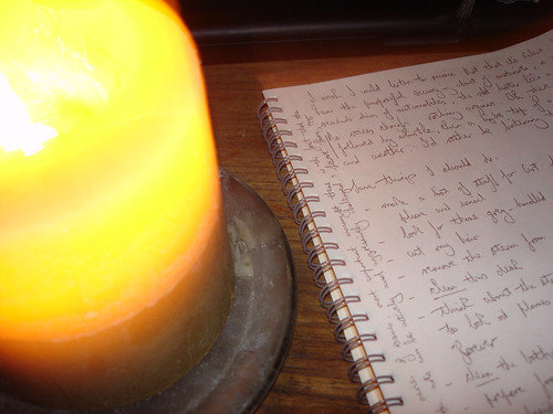 Sean O'Toole's notes for the day, by candlelight | by nathaniel s