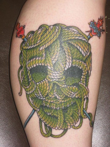 Knitting Needle Tattoo : Knitting tattoo yarn skull and cross needle done