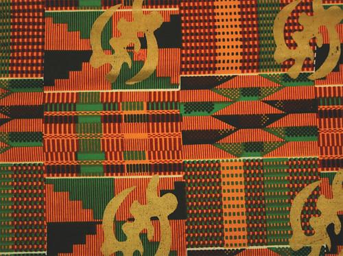 Kente Gold Print Fabric Gye Nyame Kente Print Fabric