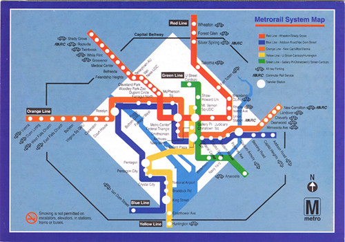 Dc Subway Map With Streets.Wash Dc Metro Rail Map Creativehobby Store