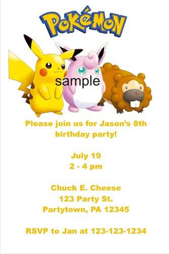 Personalized Pokemon Invitations - Custom printable photo ...