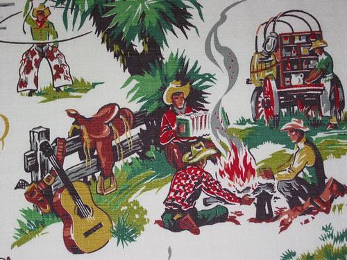 Vintage Cowboy Barkcloth Niesz Vintage Fabric Flickr