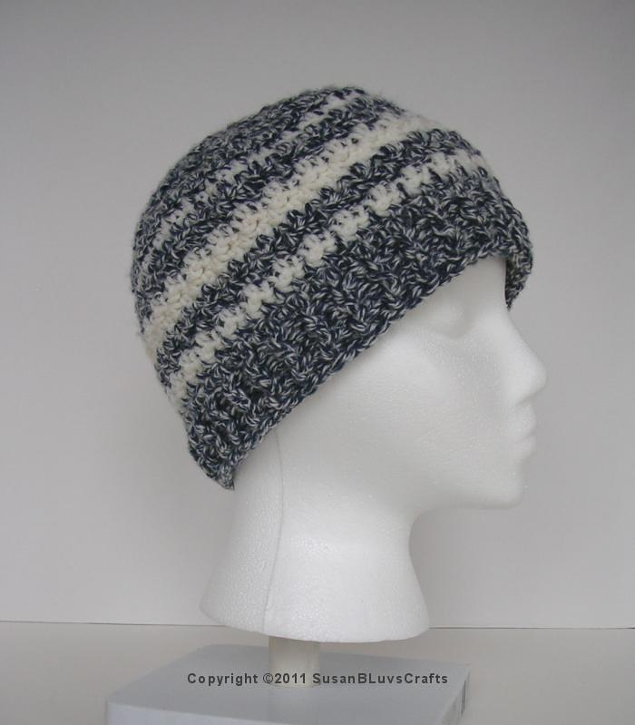 ... SusanBLuvsCrafts Hat 03 Griddle Stitch Beanie - Indigo with White  Stripes  30ce18f428e0