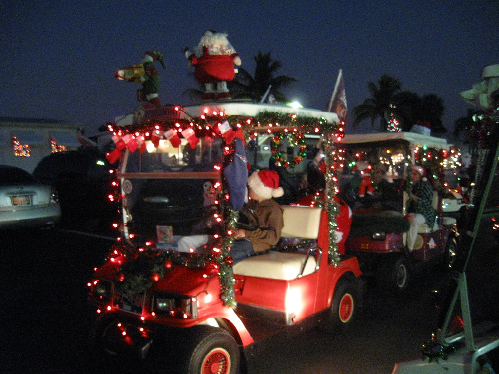 by flasunshine decorated golf carts lined up to start the parade by flasunshine - Golf Cart Christmas Decorations