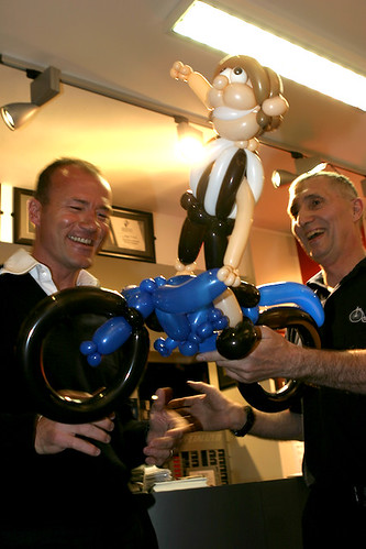 Alan Shearer receives balloon effigy of himself from Joe Waugh | by carltonreid