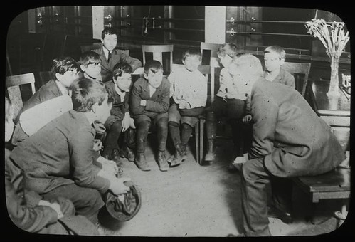 Work with schools, Aguilar Branch : Italian boys listening t... | by New York Public Library