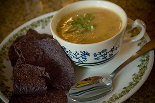 Potato Soup and Blue Corn Chips | by jugglerpm