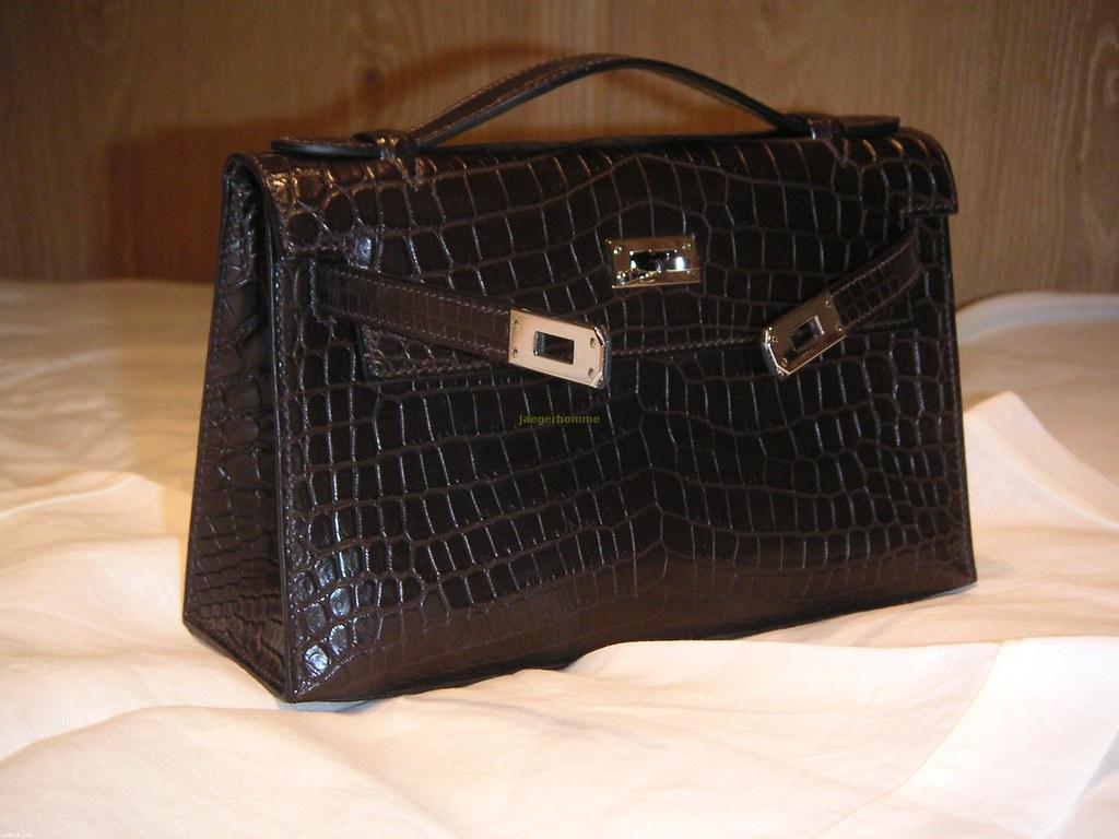 ... Hermès Kelly Pouchette havane niloticus crocodile with palladium  hardware  062baa266654f