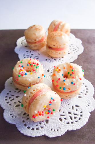 Doughnut Macarons with Strawberry Jam Buttercream | by raspberri cupcakes