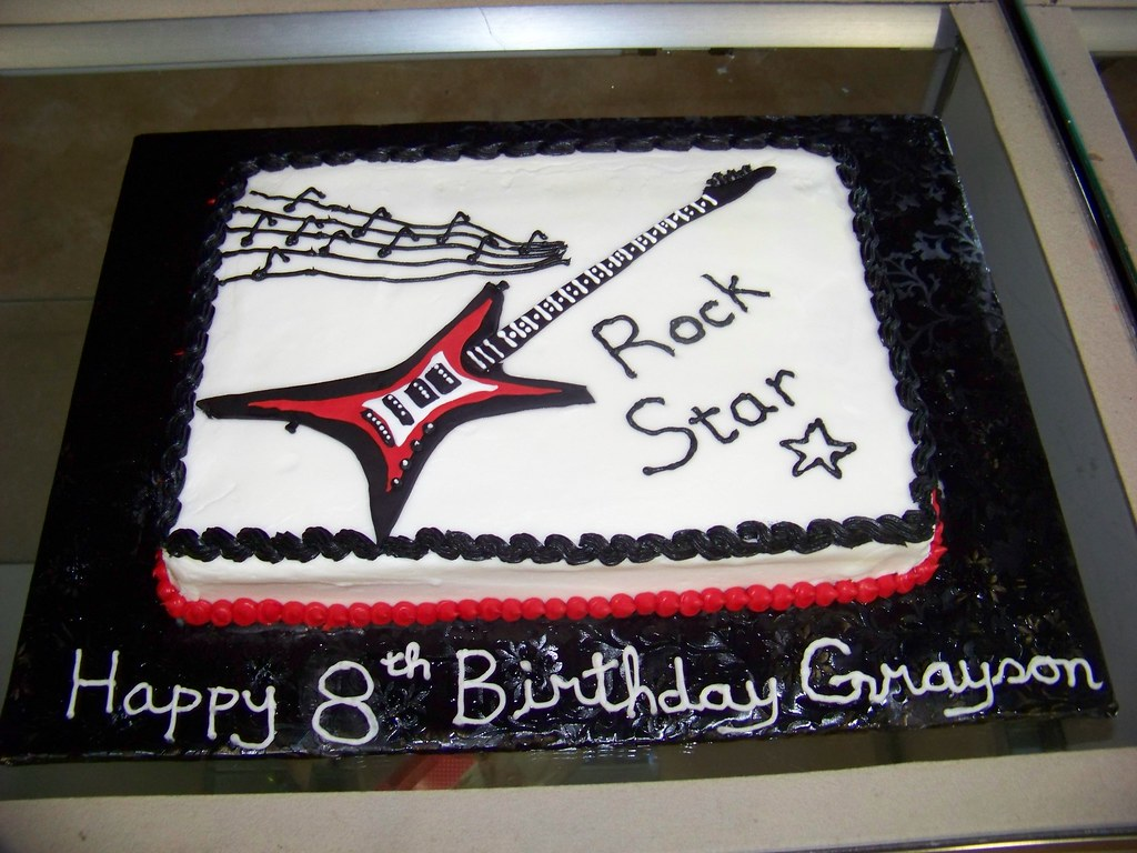 Rock Star Birthday Cake A 14 Sheet White Cake Covered In Flickr