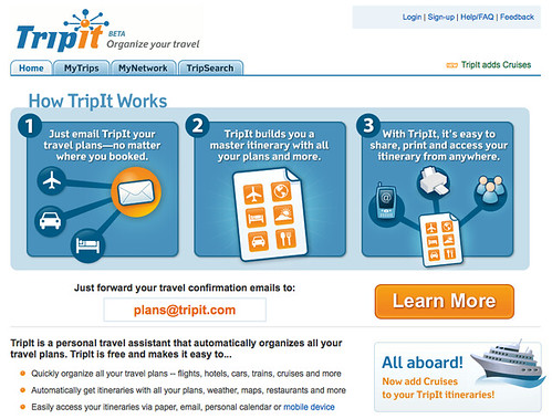 Tripit's old learn more button | by bokardo