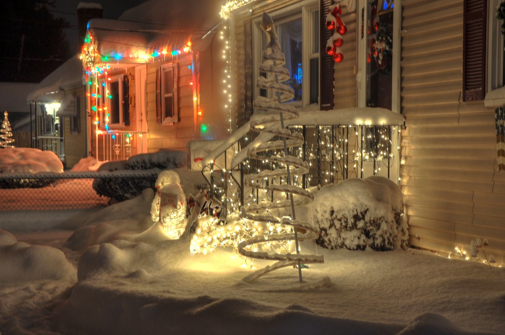 Snow and christmas lights in hdr snow and christmas lightsu flickr