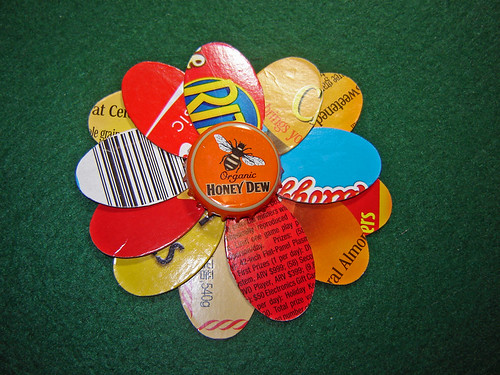 Honey dew bottle cap and recycled cardboard flower flickr for How to make bottle cap flowers