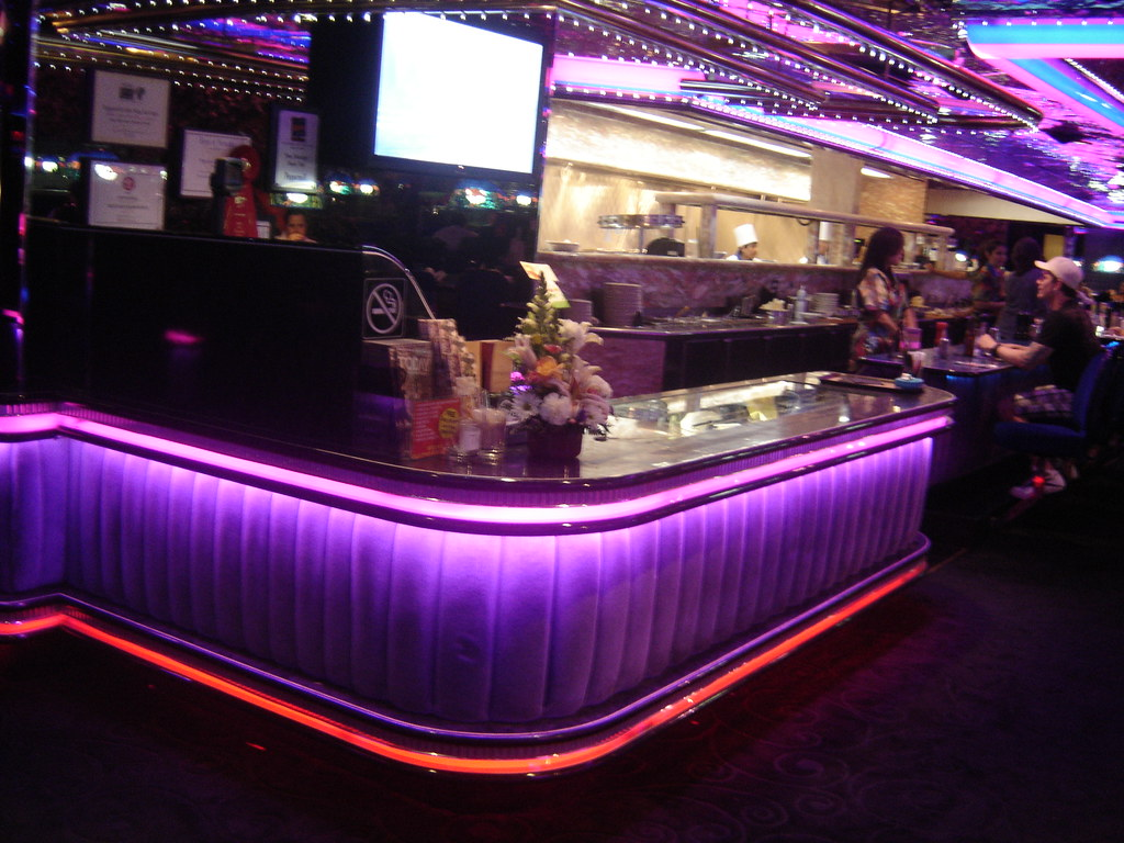 the cashiers station counter and kitchen of the peppermill restaurant las vegas by