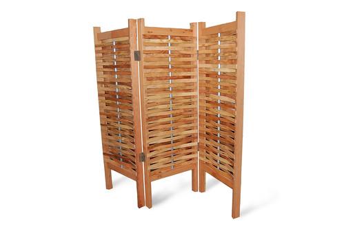 Room Divider White Wood