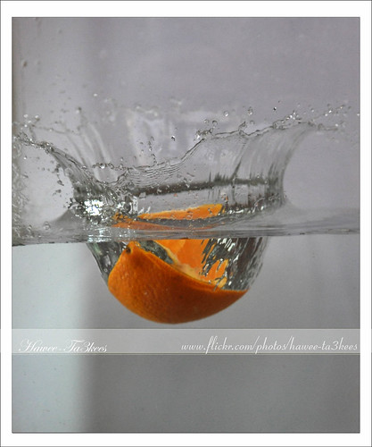 Water Splashed by 1/4 of Orange - Action Freezed | by {ahradwani.com} Hawee Ta3kees-هاوي تعكيس