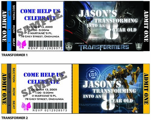 Transformer Birthday Party Ticket Invitation Transformer P – Party Ticket Invitations