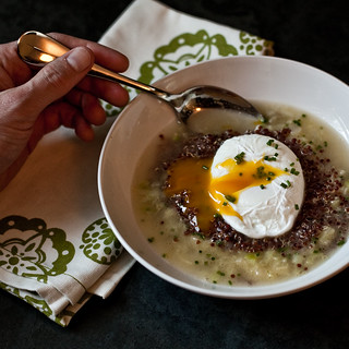 Melted Leeks with a Poached Farm Egg, Red Quinoa, and Parmesan Broth | by Married with Dinner