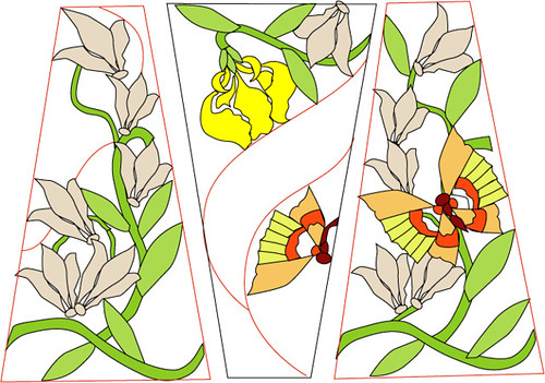 ... Stained Glass Lamp Pattern   Flowers And Butterflies | By Typothecary