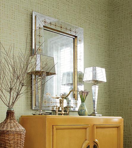 Green Grasscloth Wallpaper: Modern Wallpaper: Sage Green Metallic + Faux Grasscloth