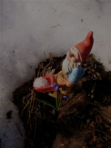 garden gnomie working to remove the last bits of snow | by knitalatte11