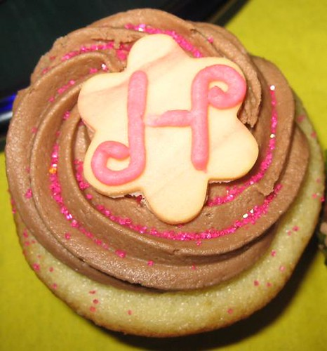 happy birthday cupcake vanilla with chocolate frosting and fondant flower birthday topper letter h