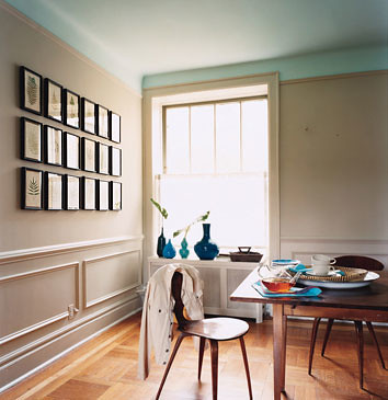 ... Serene neutral paint: Taupe dining room + sky blue ceiling | by  SarahKaron