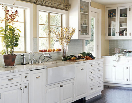 ... The Perfect White Kitchen? White Cabinets + Painted Floor + Subway  Tile, By White