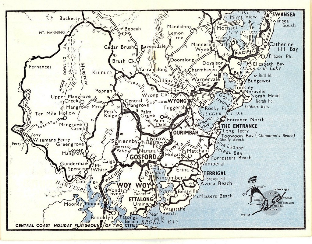 Central Coast NSW holiday coast map circa 1960s 1960s map Flickr