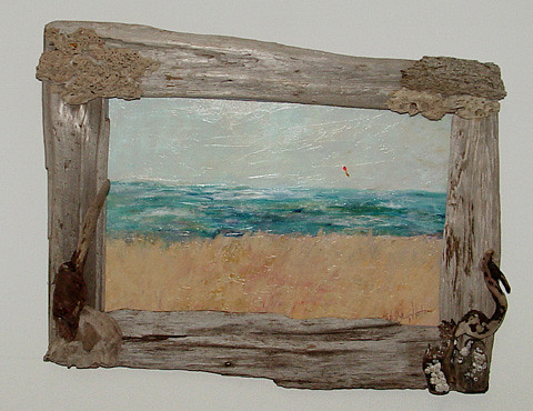 driftwood frame for original painting by calirosann