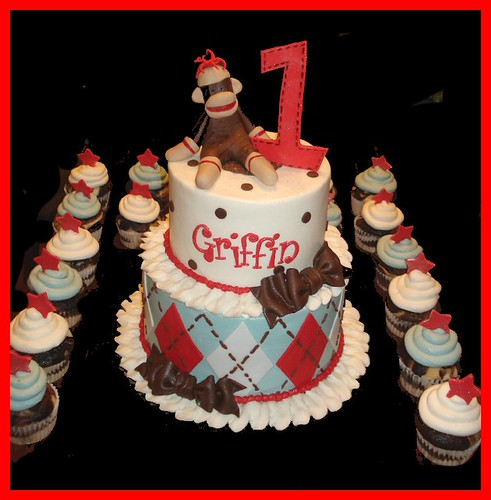 Sock monkey cake for Griffin's 1st Birthday | by atasteofwhimsy