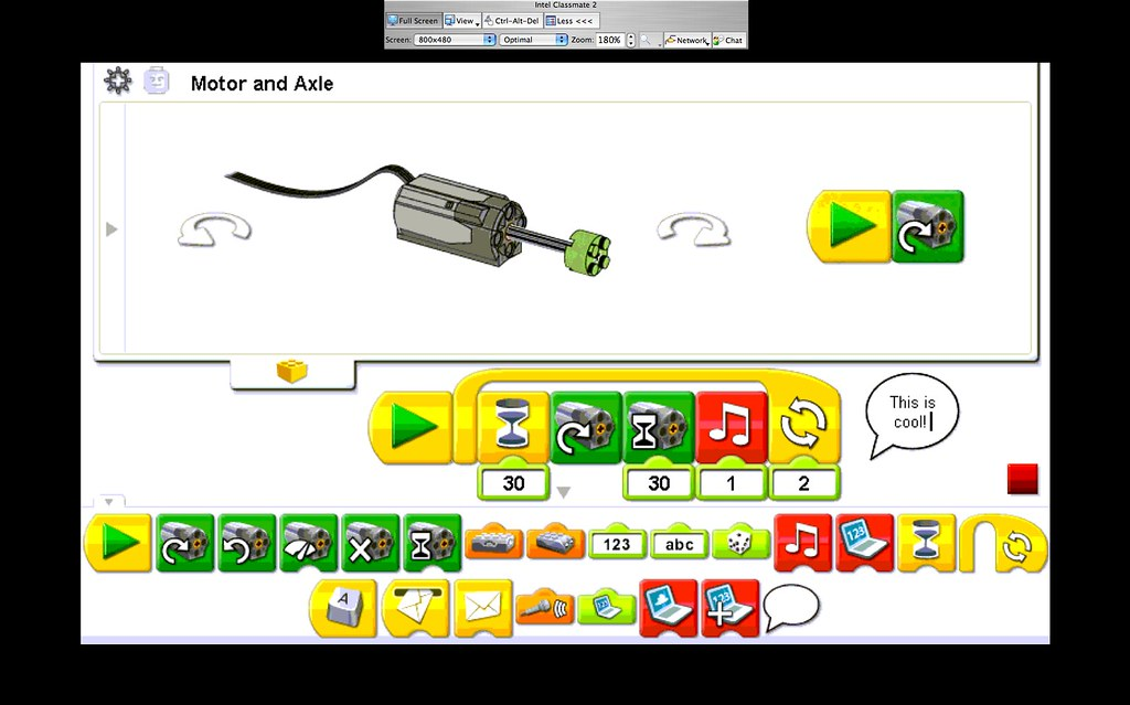 Playing with LEGO WeDo on an Intel Classmate 2 via LogMeIn… | Flickr