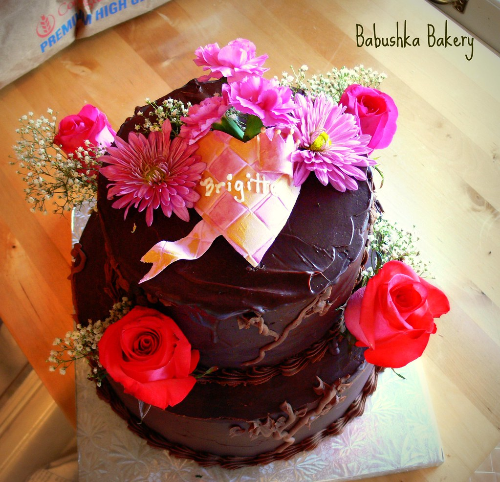 Two Tiered Chocolate Birthday Cake w Fresh Flowers Flickr
