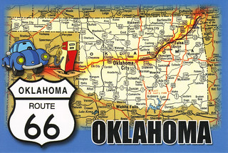 oklahoma map route 66 state highways postcard route 66 okl flickr. Black Bedroom Furniture Sets. Home Design Ideas