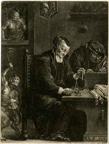 A woman seated at a table and weighing coins while two demonic creatures appear at left & a personification of Death holding an hour-glass and looking through a window | by Kintzertorium