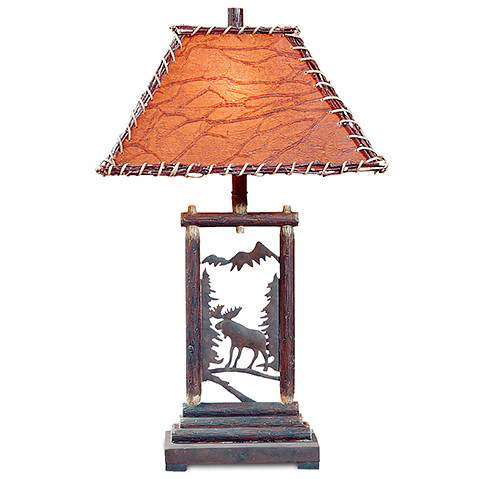 vintage verandah table lamps cl3401 scenic moose table lamp rustic home create a 6877