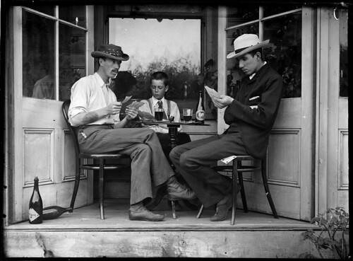 Three men playing cards in an alcove | by Powerhouse Museum Collection