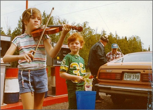 1977: fiddling before going berry picking | by TheeErin