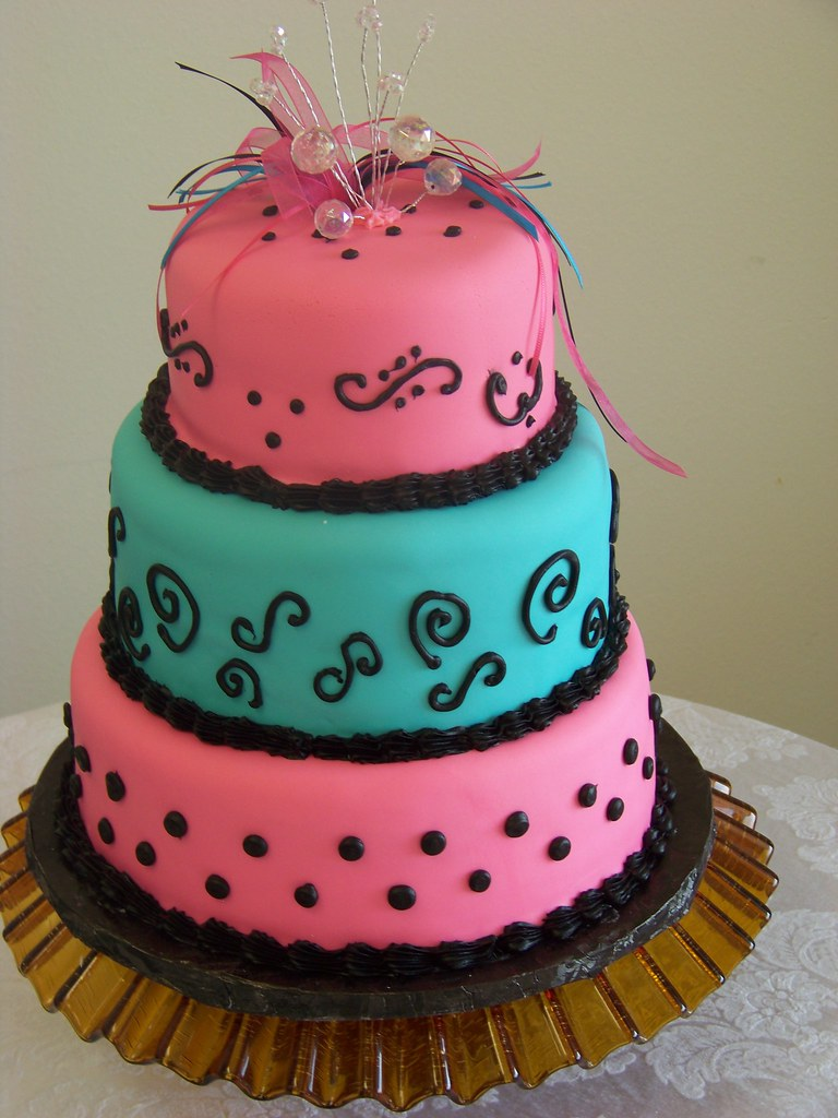 Pink Turquoise And Black Baby Shower Cake Tc27jkw Flickr