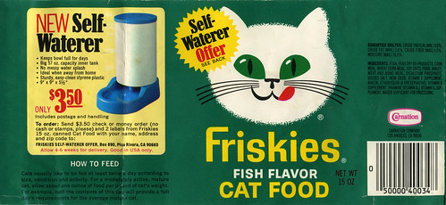 Carnation friskies fish flavor cat food can label se for Friskies cat fishing